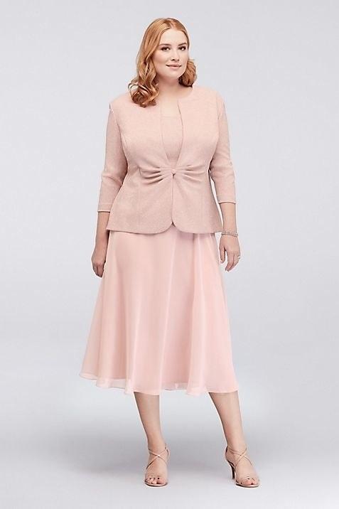 Alex Evenings Popover Glitter Jacquard Plus Size Jacket Dress