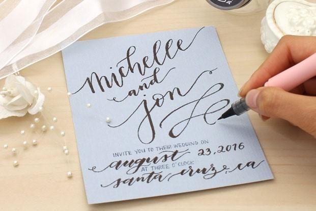 Ručně psané svatební oznámení: V hlavní roli lettering