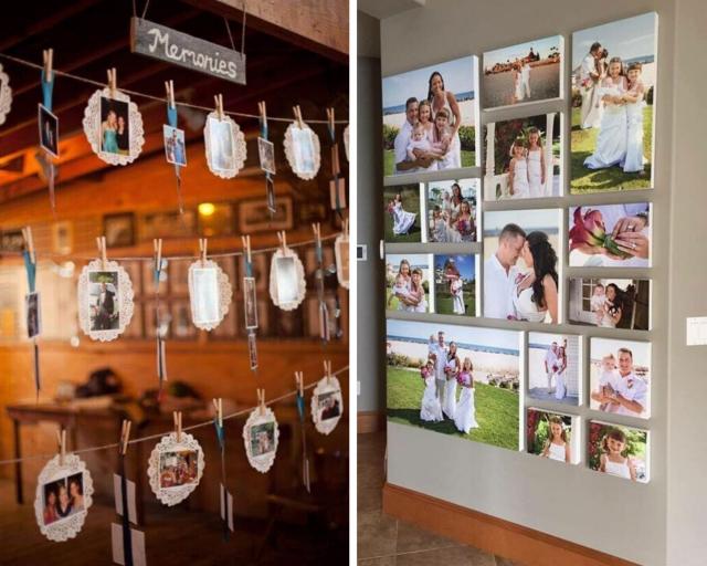 Fotografiemi a momentkami ze svatby ozdobte chodbu nebo ložnici